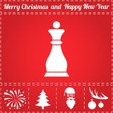 Chess Icon Vector. And bonus symbol for New Year - Santa Claus, Christmas Tree, Firework, Balls on deer antlers Stock Photo