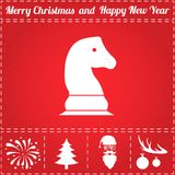 Chess Icon Vector. And bonus symbol for New Year - Santa Claus, Christmas Tree, Firework, Balls on deer antlers Royalty Free Stock Photography