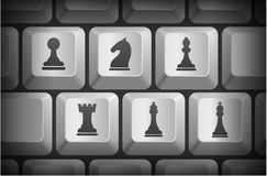 Chess Icons on Computer Keyboard Buttons Royalty Free Stock Photo