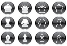 Chess icons set. Stock Photos