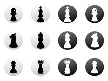 Chess icons set Royalty Free Stock Images