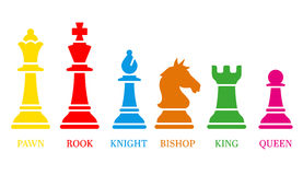 Chess icons. Vector Illustration. Set of named chess piece vector icons colored silhouettes on white showing the king queen rook bishop knight and pawn vector illustration
