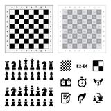 Chess icons on white background. Vector illustration. Chess icons on white background. Vector illustration stock illustration