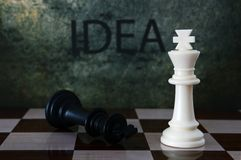 Chess and idea text Stock Photography