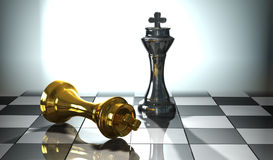 Chess Impact. A 3d Conceptual image of 2 kings on a chessboard , one looser, one winner Royalty Free Stock Images