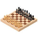 Chess Isometric View. Vector. Chess Isometric View Figures on Wooden Chessboard Strategy Sport Game. Vector illustration Stock Images