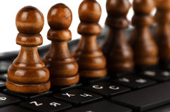 Chess and keyboard Stock Photo