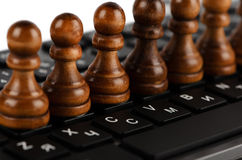 Chess and keyboard Royalty Free Stock Photo