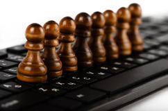 Chess and keyboard Royalty Free Stock Photography