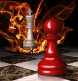 Chess king burns. Concept graphic. Chess king burns. Concept graphic royalty free stock photography