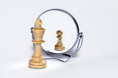 Chess king, chess pawn, contrast, reflection,. Chess king, chess pawn, contrast, mirror reflection royalty free stock photo