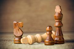 Chess King Defeat. Chess Board Game Checkmate Isolated White Leisure Games royalty free stock photo