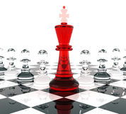 Chess King and Eight Pawn Royalty Free Stock Photos