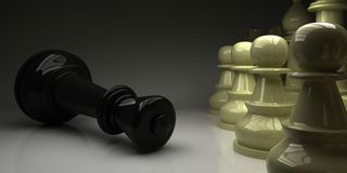 Chess King fell in front of pawns. Chess. Checkmate. Black King fell in front of pawns. 3D render Stock Image