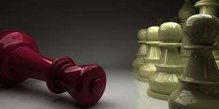 Chess King fell in front of pawns Royalty Free Stock Images