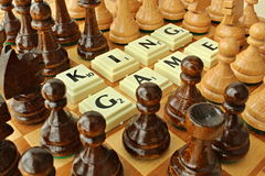 Chess king game. Dark and white figures for play chess royalty free stock images