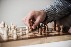 Chess king in hands Royalty Free Stock Photography