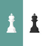 Chess king icon. Set of black and white figure. Vector illustration flat design. Isolated on white background Royalty Free Stock Photography