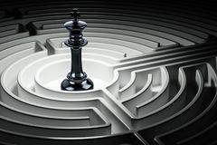 Chess king inside labyrinth maze, 3D. Rendering Stock Photography