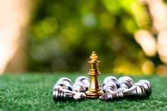A chess king last stand as a true winner.Money game concept. Copy space play playing finance business economy competition strategy economic investment battle stock photography
