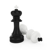 Chess king mate. Illustration of chess king standing on white background Royalty Free Stock Photo