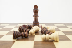 Chess king and pawns on chessboard Stock Photo