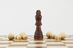 Chess king and pawns on chessboard Royalty Free Stock Photography