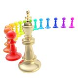 Chess king and pawns composition isolated Royalty Free Stock Image