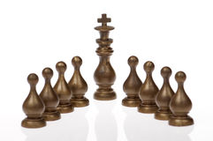 Chess king and pawns Stock Photos