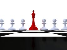 Chess king with pawns on spherical checker surface. Red Chess king with pawns on spherical checker surface Stock Image