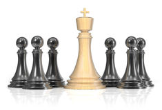 Chess king and pawns. On white background. 3d render Royalty Free Stock Photos
