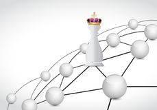 Chess king piece and network link Stock Photo