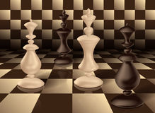 Chess King and Queen 3d render Decorative chess figures white and black king and queen chess board royalty free illustration