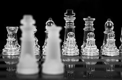 Chess King and Queen, Focus On Back. Row, Black & White stock photo