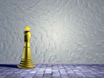 Chess king in the street - 3D render. One golden chess king alone in the street Stock Photography