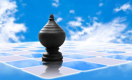 Chess king of thai chess. And blue sky with clouds reflected in the abstract checkerboard floor Stock Photography