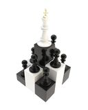 Chess king at the top among multiple pawns isolated Royalty Free Stock Image