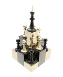 Chess king at the top among multiple pawns isolated Stock Photo