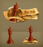 Chess King, vector icons Royalty Free Stock Images