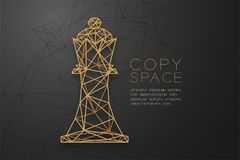 Free Chess King Wireframe Polygon Golden Frame Structure, Business Strategy Concept Design Illustration Stock Photo - 114766410