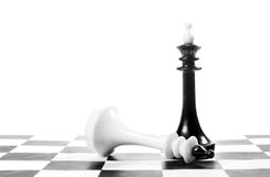Chess king won another one. Victory and defeat Royalty Free Stock Photo