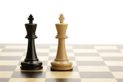 Chess kings. Black and white king on a chess game Stock Photos