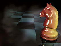 Chess Knight. Brown chess knight with squares - 3d illustration Stock Photography