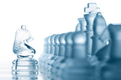 Chess knight against all pieces Stock Photography