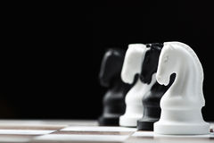 Chess knight on the chessboard Royalty Free Stock Photo