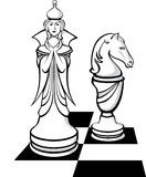 The chess queen and her knight Royalty Free Stock Images