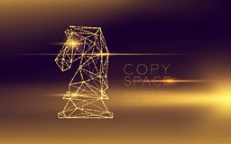 Chess Knight wireframe polygon futuristic bokeh light frame structure and lens flare, Business strategy concept design illustratio. N isolated on dark gradient stock illustration