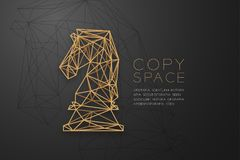 Chess Knight wireframe Polygon golden frame structure, Business strategy concept design illustration. Isolated on black gradient background with copy space Stock Images