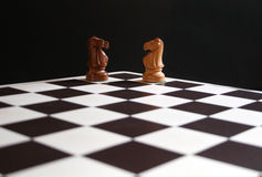 Chess knights on board. Black and white chess knights in corner of board Stock Images