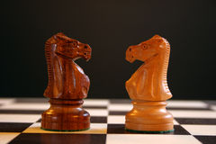 Chess knights on board. Black and white chess knightsfacing each other on chess board Stock Images